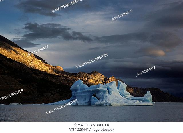 Iceberg in Grey Lake, Torres del Paine National Park; Magallanes region, Chile