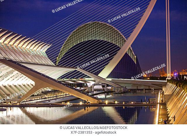 Museu de les Ciencies Principe Felipe with L'Agora and El Pont de l'Assut de l'Or, in City of Arts and Sciences. Valencia, Spain