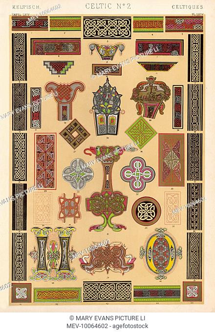 Various ornamental designs from early manuscripts, featuring the Celtic interlaced style