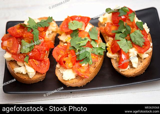 Italian bruschetta on a plate
