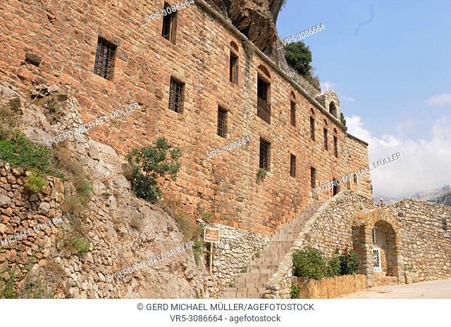 Antonios Tarabay Al Tannoury Kloster im Qadisha-Tal. Monastry in the Qadisha-valley. The Cross Path on the old road of Saint Elishaa Hermitage