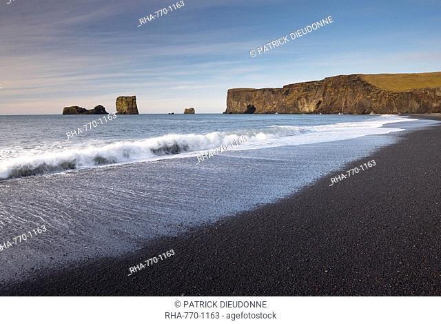 Black sand beach and Dyrholaey natural arch near Vik, south Iceland, Iceland, Polar Regions