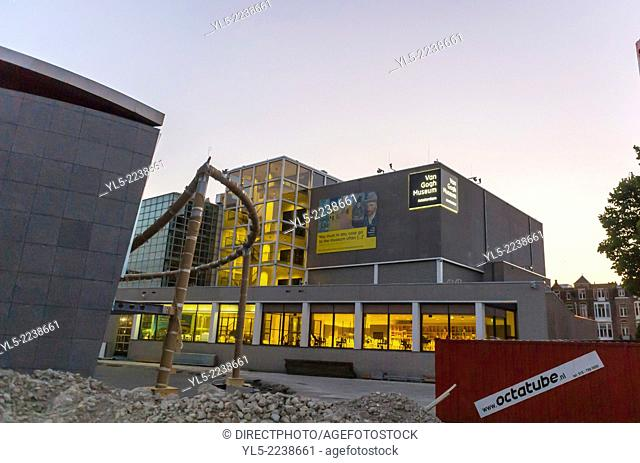 amsterdam, Holland, The Netherlands, The Van Gogh Museum, Outside, Night View of Building Site