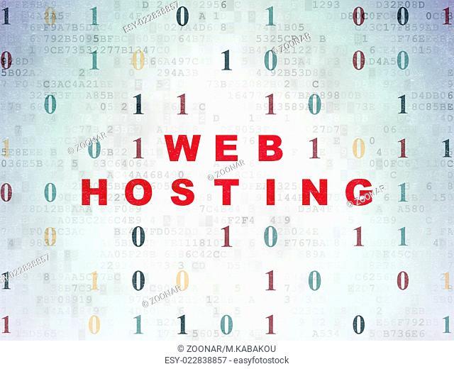 Web development concept: Web Hosting on Digital Paper background