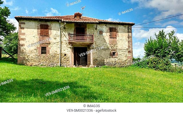 Ancient house in Mauricio Berecoechea Street, Elizondo, Baztan valley, Navarre, Spain