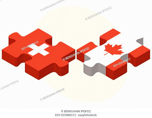 Switzerland and Canada Flags in puzzle isolated on white background