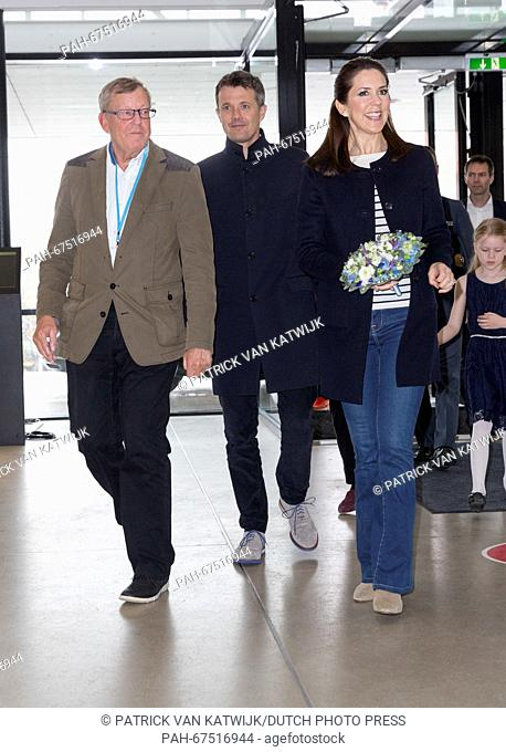 Crown Prince Frederik (C) and Crown Princess Mary of Denmark attend the qualification regatta Danish Open at the Bellahoj Swimming Stadium, Denmark