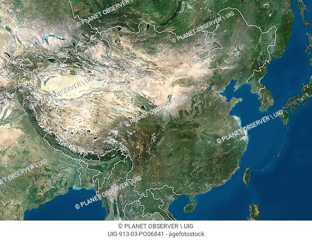 Satellite view of China and Eastern Asia (with country boundaries). This image was compiled from data acquired by Landsat satellites