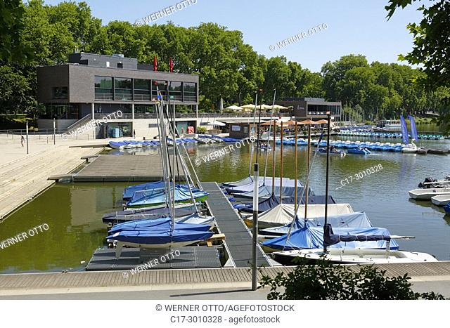 Muenster (Westfalen), D-Muenster, Westphalia, Muensterland, North Rhine-Westphalia, NRW, boats on the Aa Lake, Aasee, boat harbour, sailing boats, boat rental