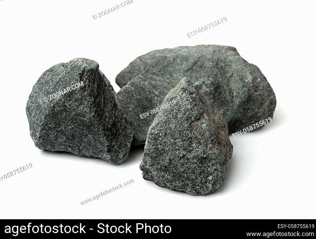 Crushed granite stones isolated on white