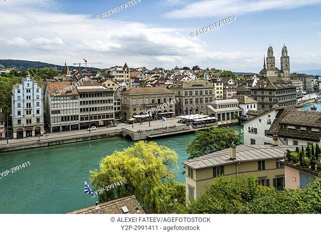 Panoramic view of Limmat river and historic centre of Zurich, Switzerland from Lindenhof hill