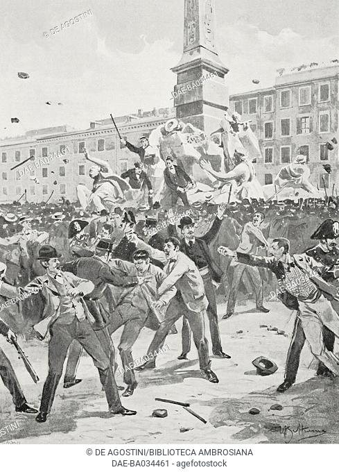 Riots in Piazza Navona, Rome, Italy, October 11, 1897, drawing by Achille Beltrame (1871-1945), from L'Illustrazione Italiana, Year XXIV, No 42, October 17