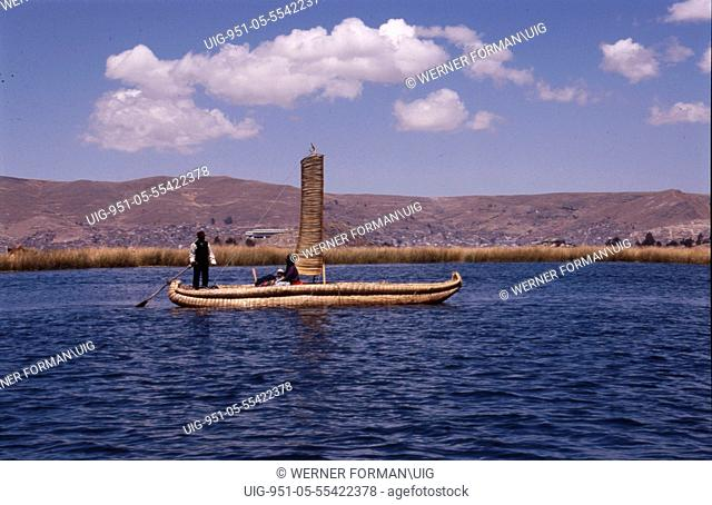 Typical totora reed boat used on the Lake Titicaca