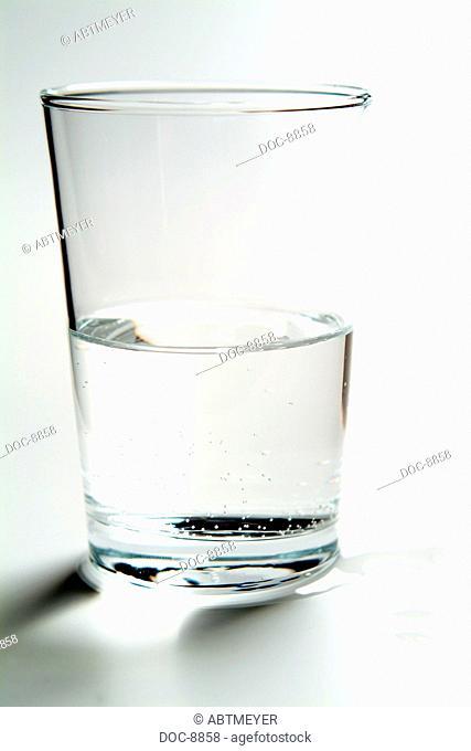 semifull water glass on white base