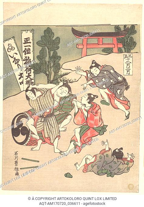 Inari-ko, The Second Month, Edo period (1615–1868), ca. 1767, Japan, Polychrome woodblock print; ink and color on paper, H. 10 in. (25.4 cm); W