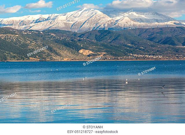 Amazing panoramic Landscape of Lake Pamvotida and Pindus mountain from city of Ioannina, Epirus, Greece
