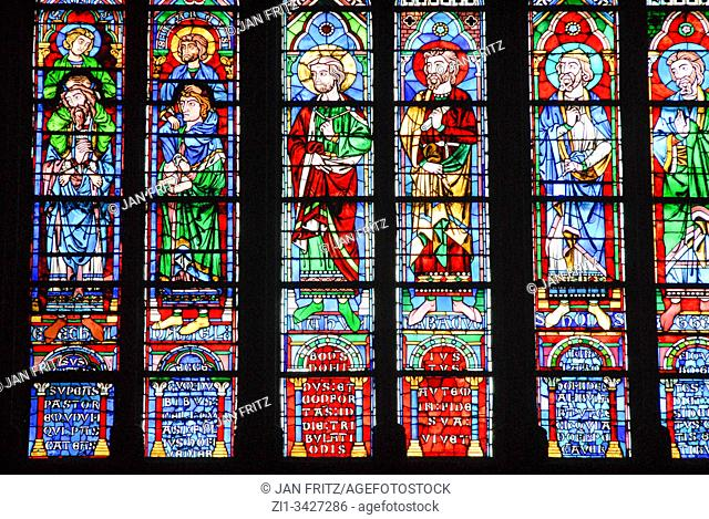 colourful stained windows in Notre Dame of Paris, France