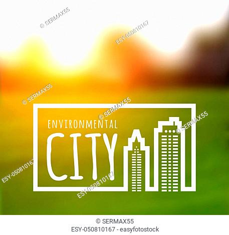 Ecologically clean green city. illustration on a nature background