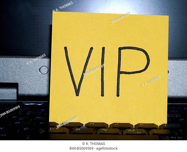 memo note on notebook, VIP