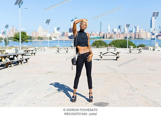 USA, New York City, Brooklyn, confident young woman