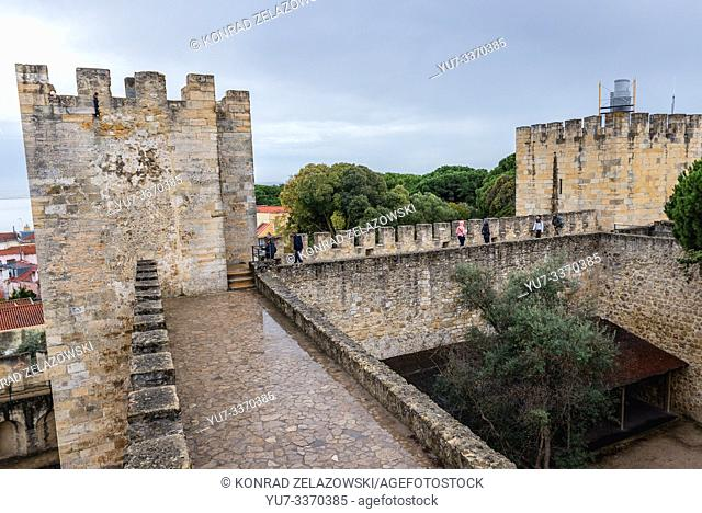 Towers of Castelo de Sao Jorge citadel in Lisbon, Portugal