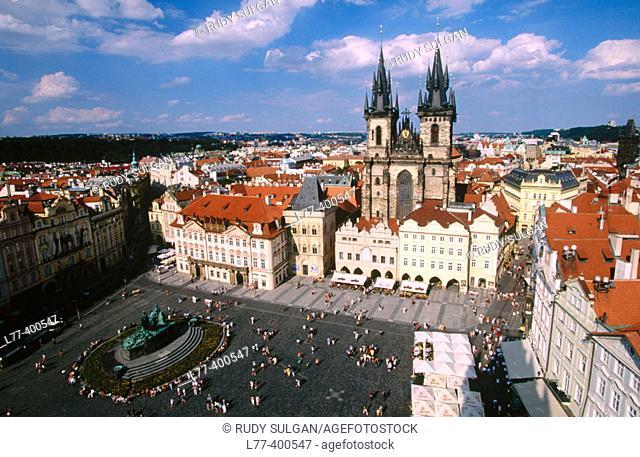 Tyn Church and Old Town Square (Staromestské Namesti). Prague. Czech Republic