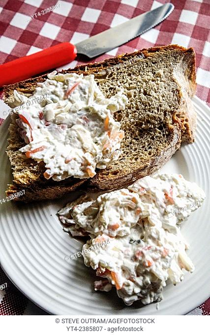 Greek Cuisine, Green Gardeners Salad Spread/Dip on Bread