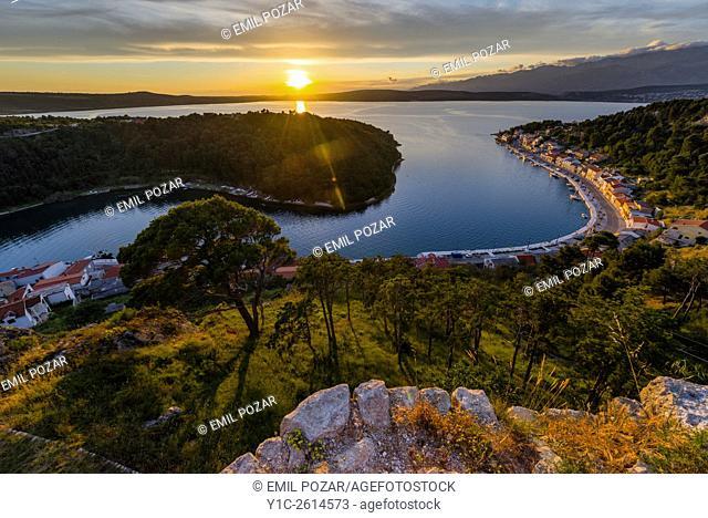 Sunset from fort atop Novigrad in Dalmatia Croatia