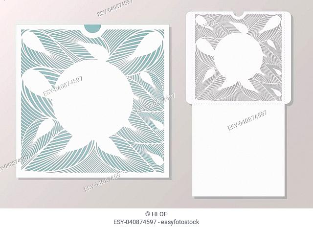 Vector decorative envelope for laser cutting. Silhouette design. possible to use for birthday invitations, presentations, greetings, holidays, celebrations