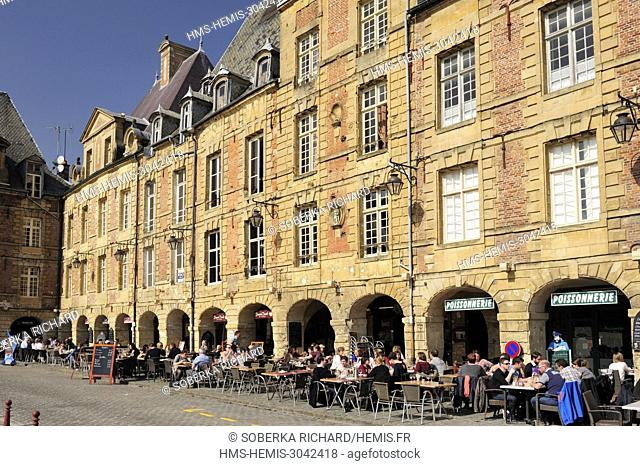 France, Ardennes, Charleville Mezieres, Place Ducale, terraces in front of the arcades