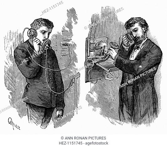 New York telephone subscriber making call through operator at telephone exchange, 1883. Apparatus in picture used an Edison transmitter and a 'pony-crown'...