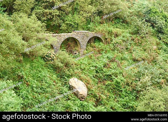 Aqueduct between Pasai Donibane and Donostia San Sebastian on the Way of St. james, Basque Country, Spain