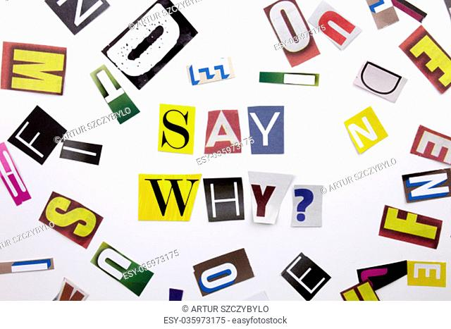 A word writing text showing concept of Say Why question made of different magazine newspaper letter for Business case on the white background with space