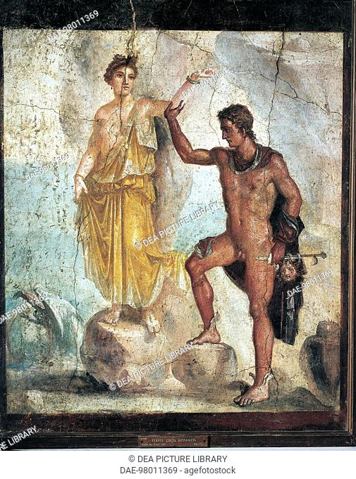 Roman civilization, 1st century A.D. Fresco depicting Perseus and Andromeda, 55-79 A.D., painting on plaster, 120x98 cm. From Pompei