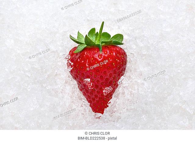 Strawberry on ice