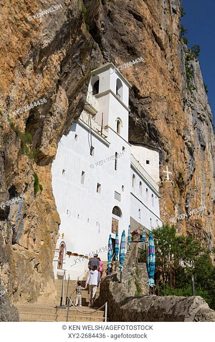 Montenegro. Manastir Ostrog. Ostrog Monastery of the Serbian Orthodox Church, built into a near vertical rockface. It was founded in the 17th century and is...