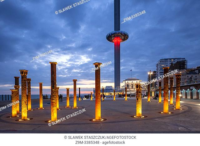 Evening at i360 tower on Brighton seafront, East Sussex, England