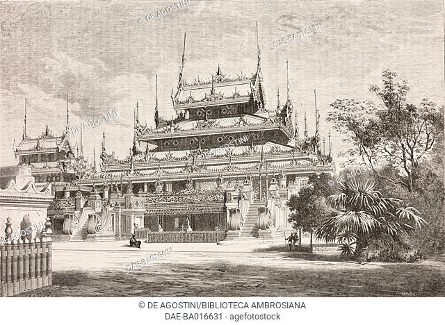 View of Maha-Toolut-Boungyo, Royal Monastery in Amarapura (later dismantled and transferred to Mandalay where it is known as Shwenandaw monastery), Burma