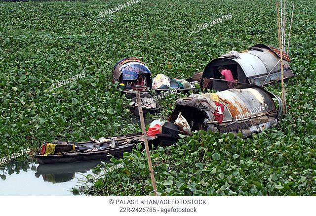 Bangladeshi river gypsy works on her boat as a boat man attempts to make his way through water hyacinth on the Buriganga River in Dhaka on Aug 18, 2013