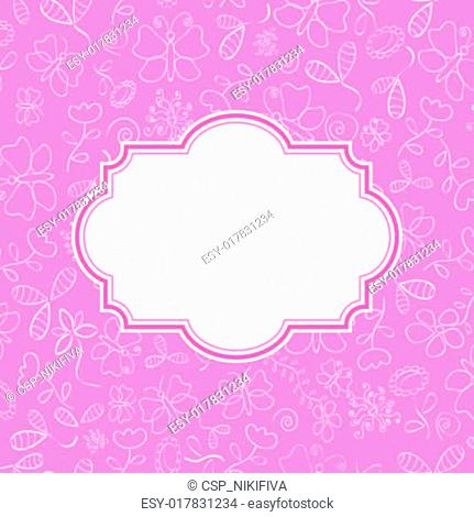 Pink Invitation Card with Flowers