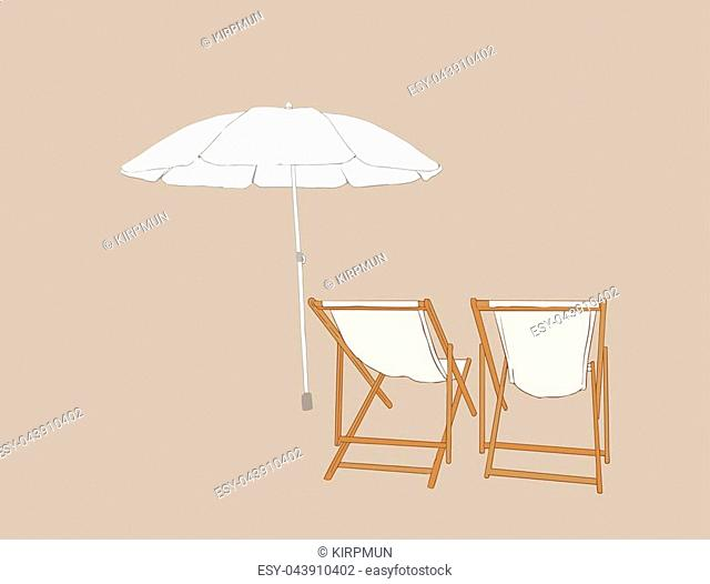 beach chairs with umbrella , sketch vector