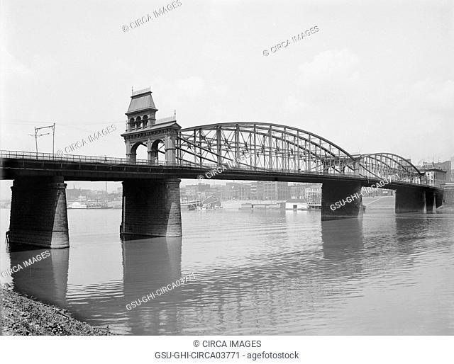 Smithfield Street Bridge and Monongahela River, Pittsburgh, Pennsylvania, USA, Detroit Publishing Company, 1900