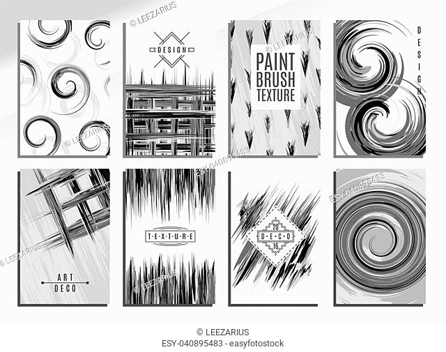 Set of creative universal cards. Design for banner, poster invitation placard brochure. Hand drawn textures. Vector Illustration. Paint brush texture