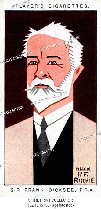 Sir Francis Bernard Dicksee, British painter, 1926. Portrait of Frank Dicksee (1853-1928). Cigarette card with straight-line caricature