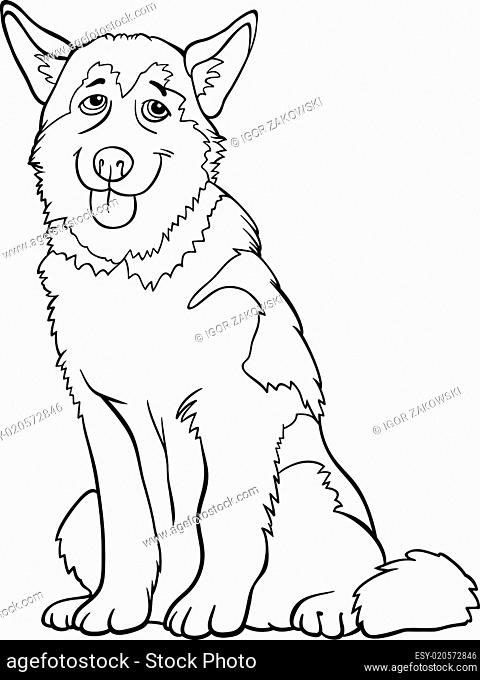 husky or malamute dog cartoon for coloring