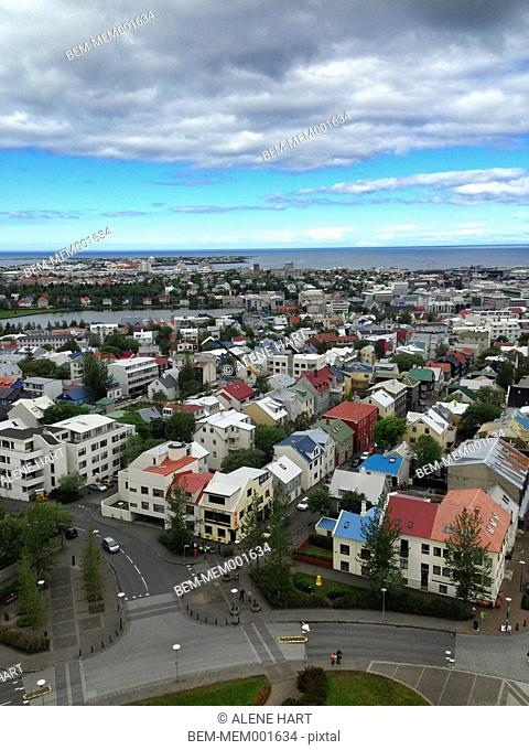 Scenic view of rooftops in Reykjavik cityscape, Hofuoborgarsvaeoi, Iceland
