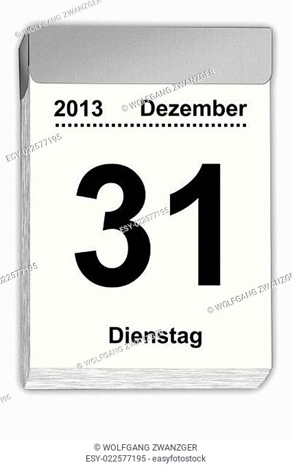 tear off calendar German December 31,2013