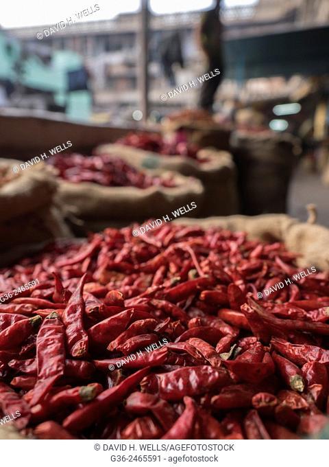Sack of dried chili pepper, New Delhi, India
