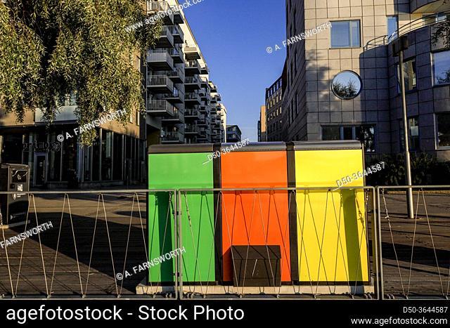 Stockholm, Sweden Color-coded refuse containers in Liljeholmskajen