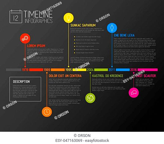 Vector Infographic timeline report template with the biggest milestones, icons, years and color buttons